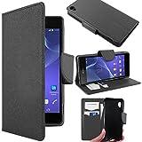ebestStar - kompatibel mit Sony Xperia Z3 Hülle D6603 Kunstleder Wallet Hülle Handyhülle [PU Leder], Kartenfächern, Standfunktion, Schwarz [Phone: 146 x 72 x 7.3mm, 5.2'']