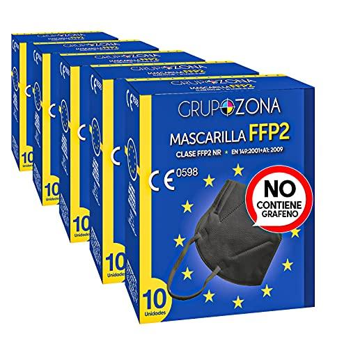 50 uds. Mascarillas Negras FFP2 NR homologadas CE 0598, filtrado de 5 capas - GrupoZona - Mascarilla protección negra - Envío rápido