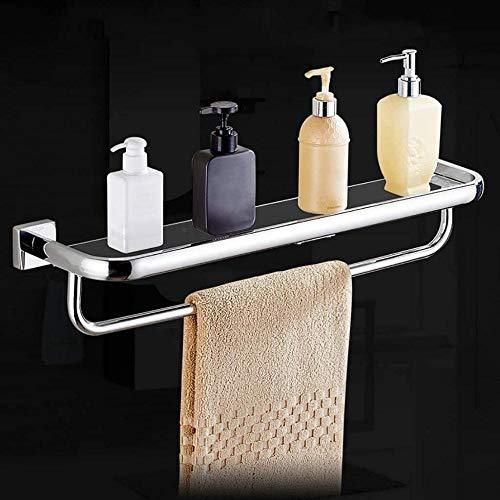 YONGYONGCHONG Droogrek 304 Roestvrijstaal Badkamer Gehard Glas Plank Wandmontage Badkamer Cosmetica Spiegel Voorhanddoek Rack Handring