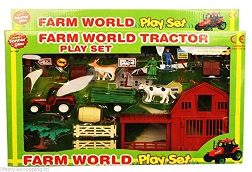 Kids Farm World Plastic Play Set Toy Animals Tractor Figures Childrens New