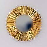 Rococo Espejo Decorativo Tipo Sol de Madera Surya Circle de 60x60cm en Oro (Envejecido)