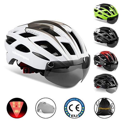 KINGLEAD Casco de Bicicleta con Luz de Seguridad y Visera de Protección, Casco de Ciclo Protegido...