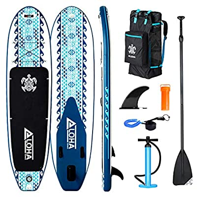 XGEAR Inflatable Stand Up Paddle Board 10'6'' with Fins and Free Premium SUP Repairing Kit, Backpack, Adjustable SUP Paddle, Leash and Hand Pump with Gauge