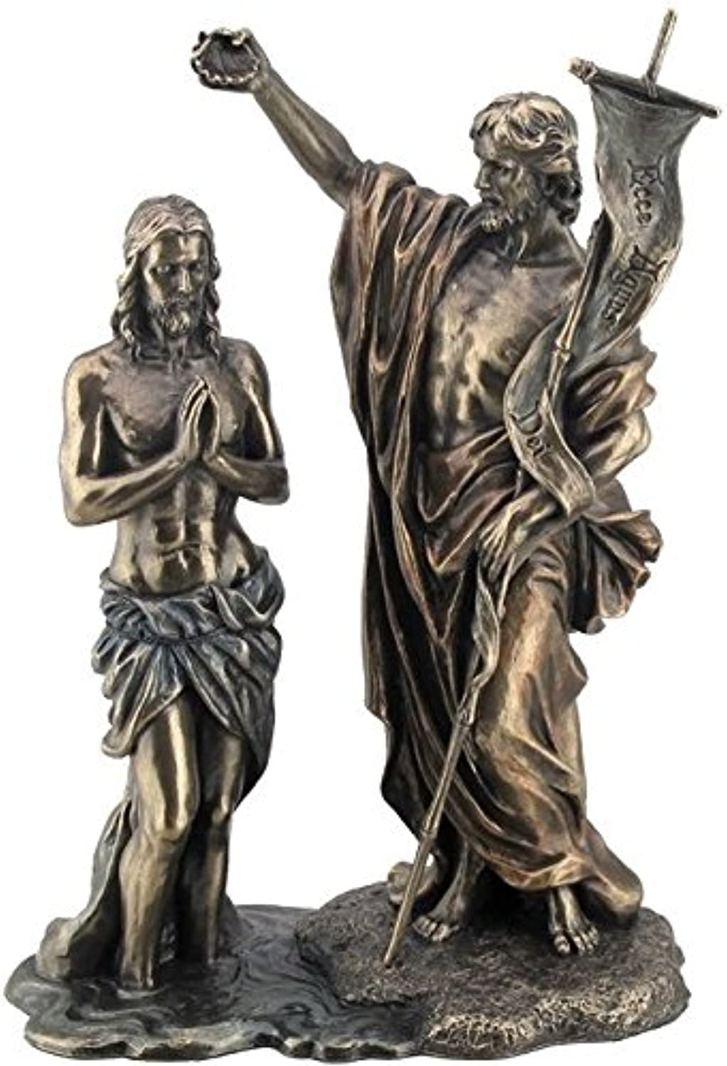 10.63  Jesus Baptized By St. John The Baptist Figurine, Bronze color