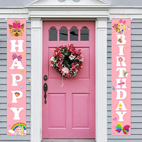 PANTIDE Jojo Happy Birthday Porch Sign, Pink Welcome Door Banners Vertical Polyester Fabric Wall Hanging Decors for Indoor and Outdoor, Jojo Themed Birthday Party Decorations Supplies for Kids Girls