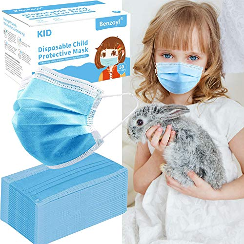 50 pcs Disposable Safety Kids Face Mask, 3-ply Breathable for Dust Air Pollution Protective Mouth Cover with Elastic Earloop Kid Protection Use Indoor Outdoor Home Travel