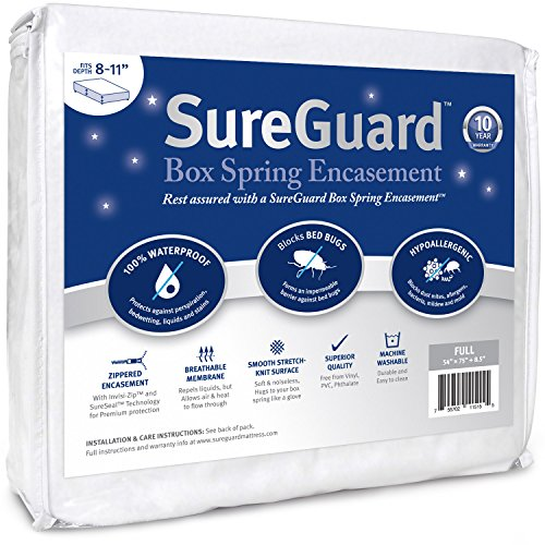 Full Size SureGuard Box Spring Encasement - 100% Waterproof,...