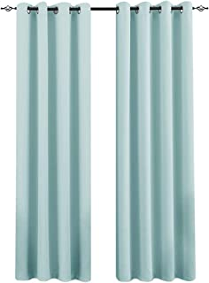 Window Blackout Curtains for Living Room Sky Blue Drapes 84 inch Thermal Insulated Triple Weave Grommet Curtain Panels for Bedroom 1 Pair