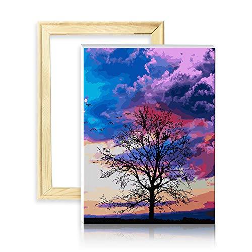 decalmile Pintura por Número de Kits DIY Pintura al óleo para Adultos Niños Oscuro Nubes Árbol 16'X 20' (40 x 50 cm, con Marco de Madera)
