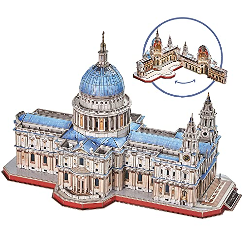 CubicFun 3D Brain Teaser Puzzles for Adults Large Challenge Britain Architecture Church Building Model Craft Kits Birthday Gift for Adults as Hobby, St.Paul's Cathedral 643 Pieces