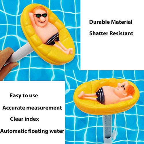 Floating Pool Thermometer, Pond Water Thermometer with String, Shatter Resistant Swimming Pool Thermometer for Outdoor