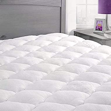 ExceptionalSheets Rayon From Bamboo Mattress Pad Fitted Skirt - Extra Plush Cooling Topper - Hypoallergenic - Made in the USA, California King