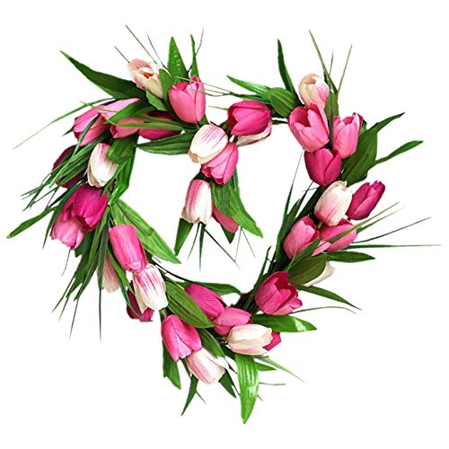 D-Rings Artificial Tulip Wreath for Mother's Day, Flower Tulip Floral Twig Door Wreath Spring Wreath for Front Door Mothers Day Wreaths Decorations (B)