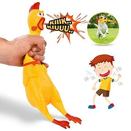 """Hilarious 15"""" Rubber Screaming Chicken Toy For Kids & Pets – Super Durable & Funny Squeaky Chicken Dog Chew Toy - Silly Squeezing & Squawking Novelty Gift Idea – Vibrant Colors & Wacky Design"""