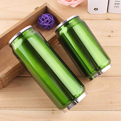 yylikehome 300 / 500ml Lata de Bebida con Paja Thermol Aislado de Acero Inoxidable Botella de Agua Termo de café matraz de vacío Taza Garrafa Termica500ml Verde