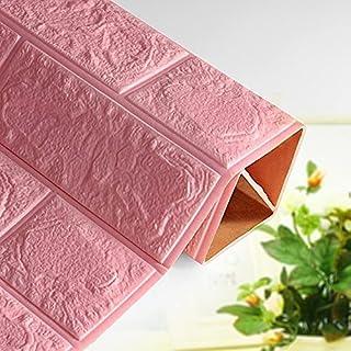 Pack of 10 - Godran Khan 70x75cm Foam 3D Wall Sticker Home Decor Wallpaper Sticker 8mm, pink