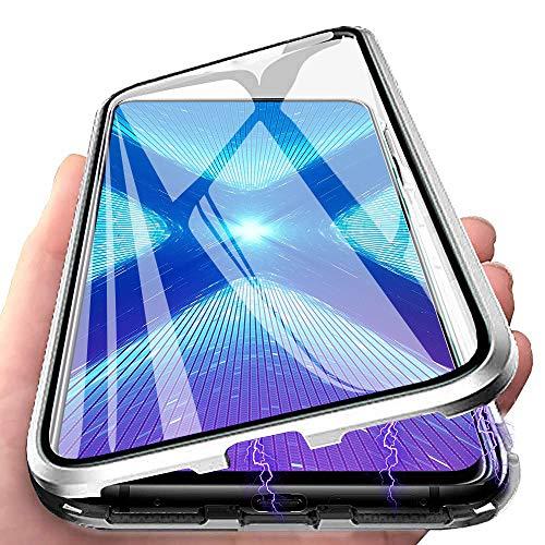 Keteen Funda para Samsung Galaxy S30 Ultra, magnética, 360 grados, funda para Galaxy A750, doble protección, cristal templado, antigolpes, metal con tapa, color plateado