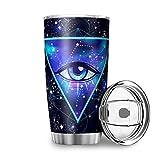 Eyes - Vaso de doble pared de acero inoxidable con tapa MagSlider para la escuela, 600 ml, color blanco