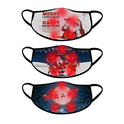 Eariy LED-Weihnachtsmaske für Erwachsene, beleuchtet, Weihnachtsbeleuchtung, staubdicht, bequem, atmungsaktiv, für Weihnachten, Party, Festival, Tanzen, Rave, Maskerade, Valentinstag