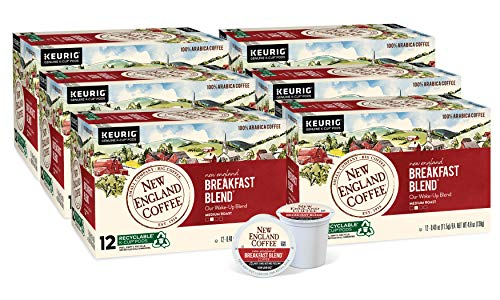 New England Coffee New England Breakfast Blend Medium Roast K-Cup Pods 12 ct. Box (Pack of 6), Yellow (10787780770398)