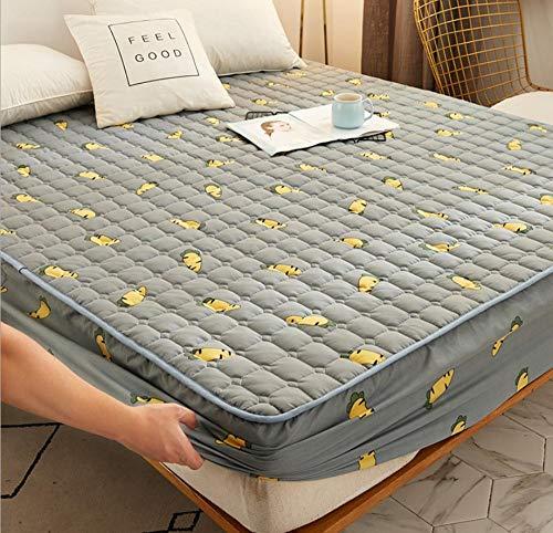 XLMHZP Sábana Ajustable Acolchada Agradable para la Piel Funda Protectora de colchón de Cama Suave y Transpirable Ropa de Cama cómoda Ropa de Cama-R_135x200cm + 30cm
