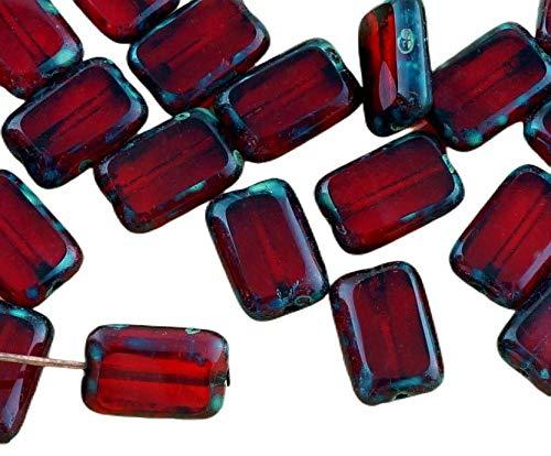 8pcs Picasso Brun Cristal Rubis Foncé Rouge Table de Découpe à Plat Rectangle de Verre tchèque Perles de 8mm x 12mm