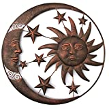 Sun and moon outdoor decor-Wall sculpture home decoration antique metal Sun Moon Star, about 18.5inchs