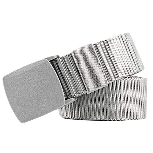 DaoRier Unisex Gürtel Freizeitgürtel aus Leinwand mit Kunststoff Schnalle für Herren Damen (Grau)
