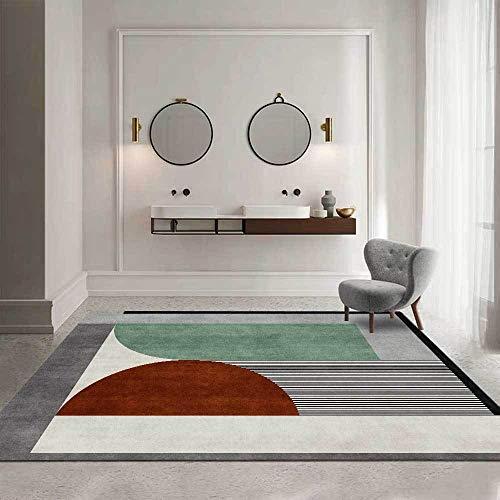 Rug Modernas Dormitorio Sala de Estar Antideslizante Mat Durable Fácil Mantenimiento Costuras de semicírculo geométrico Rojo Verde 160X230CM(5.5ft x 7.5ft)