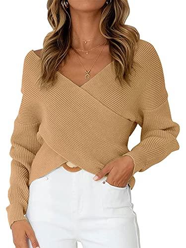 DELIMALI Suéter de punto para mujer, con cuello en V, manga larga, suelto, liso, suéter gris, caqui, S