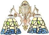 Lámpara Industrial, Tiffany Mediterráneo Estilo de Pared Lámpara de Pared Retro Mosaico Europeo Forma Irregular Forma de Pared Luz Pintada Lámpara de Vidrio E27 Cabeza Doble Hierro Forjado,Decoración