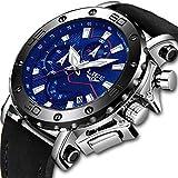 lige orologi da uomo sportivo impermeabile analogico quarzo orologio quadrante grande pelle nera militare orologio