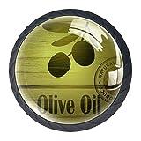 Olive Oil Branch Label Cabinet Dresser Knobs 4 Pcs Drawer Door Pull Handles