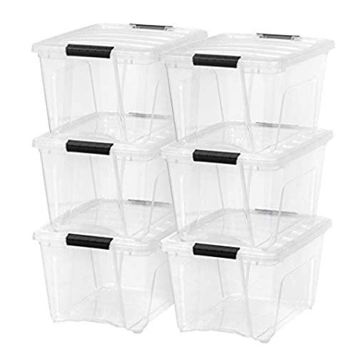 IRIS USA TB Clear Plastic Storage Bin Tote Organizing Container with Durable Lid and Secure Latching Buckles, 32 Qt, 6 Count