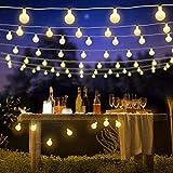 Guirnalda Luces Exterior, Luces Decorativas Habitacion, FishOaky 7M / 23FT 50 Globos Luces Navidad Exterior Blanco para Interiores, al Aire Libre, Árbol de Navidad, Boda, Fiesta, Decoración