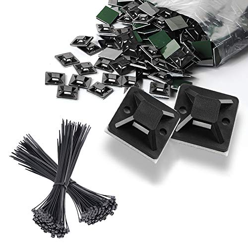 MOAMUN Base de Montaje Sujetacables Cables, 200pcs Zip Tie Bases con Cinta...