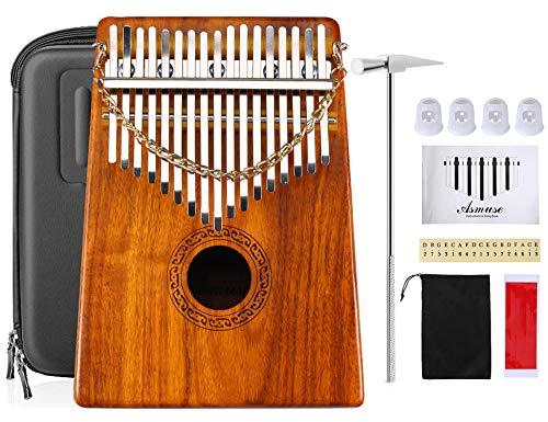Asmuse™ Kalimba 17 Tasti Thumb Piano Professionale in Legno Massello KOA Marimbe con 12 Accessori Contiene Songbook Borsa in EVA Tuning Hammer Thumb P