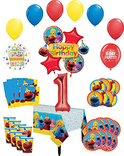 Sesame Street Party Supplies 1st Birthday 8 Guest Table Decorations and Balloon Bouquet