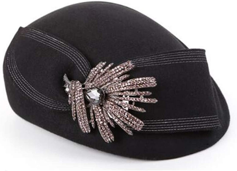 soporte minorista mayorista Hat Sombrero Damas otoño e Invierno 100% Lana Boina Boina Boina Gorra Viento británico Elegante Boina de Diamante  marca en liquidación de venta
