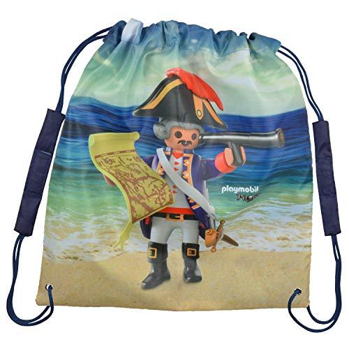 PLAYMOBIL City Action - Bolsa de deporte (38 x 35 cm, poliéster), Diseño de piratas. (Azul) - 0126496