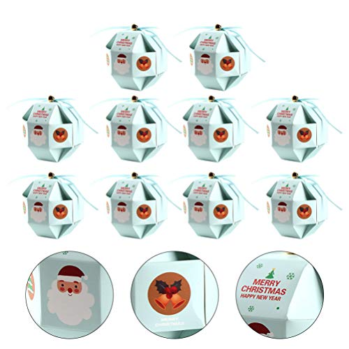 Wakauto 10 Unidades de Presentes de Natal Caixas de Doces para Festas Sacolas de Presentes de Papai Noel Desenhos Animados Decorações para Festas Infantis Azul-Celeste