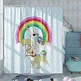DESIHOM Unique Rainbow Dinosaur Unicorn Shower Curtain Summer Funny Bathroom Shower Curtain Mens Cool Shower Curtains Polyester Waterproof Shower Curtain 72 inch
