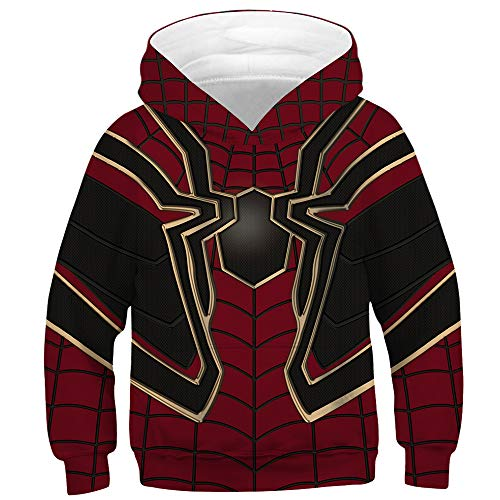 TAKUSHI HF Teen Boys Girls Fashion 3D Printed Galaxy Long Sleeve Pullover Hoodies Hooded Sweatshirts with Pocket 6-13Y(Spiderman,M)
