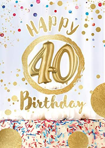 """bentino Geburtstagskarte XL mit leuchtenden """"KERZEN"""" zum AUSPUSTEN , Spielt den Song """"Happy"""", DIN A4 Set mit Umschlag , Glückwunschkarte zum 40. Geburtstag, Grußkarte """"Great Cards"""" von bentino"""
