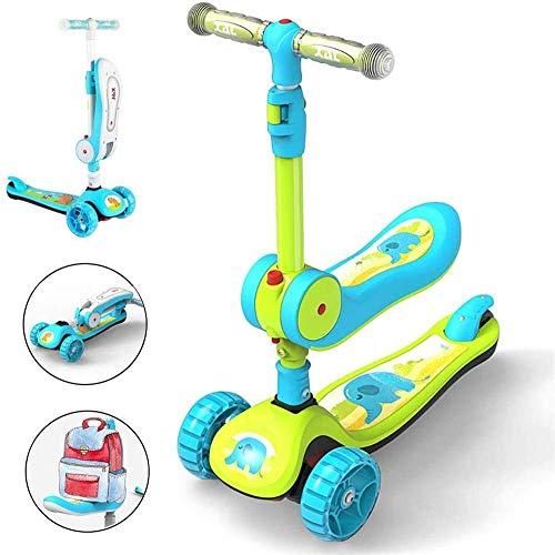 Pkfinrd 2-in-1-Kinderroller, Kleinkind Mädchen Jungen Faltbare Tretroller mit abnehmbarem Sitz, justierbarer Handgriff, 3 Räder LED leuchten