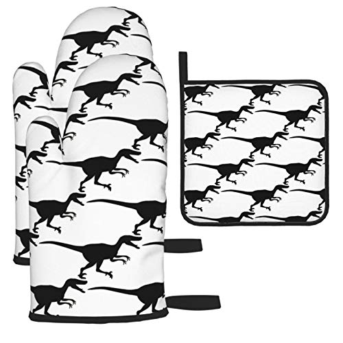 Velociraptor Dinosaur Printed 2 Oven Mitts + Pot Holders,Heat Resistant Waterproof Cooking Gloves for Kitchen Cooking Baking,BBQ,Grilling (3-Piece Set)
