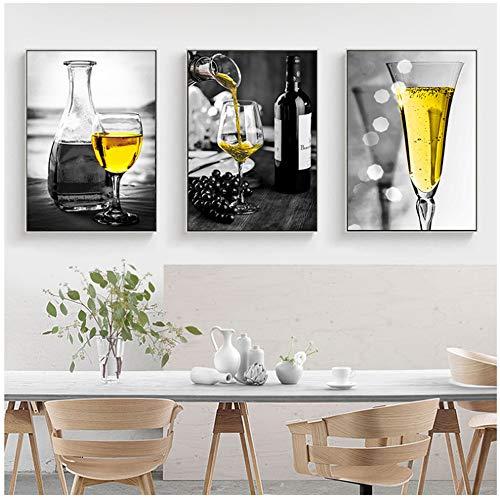 Canvas schilderij Wall Art Print gele Champagne foto Home Decor Nordic wijn Cup Poster Art schilderij keuken-60 x 80 cm / 23,6