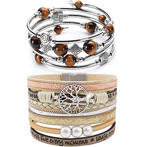 YooAi 2 Pieces Wrap Bracelet Multilayer Leather Bracelet Bohemian Beaded Tree of Life Bracelets Jewelry for Women Yellow