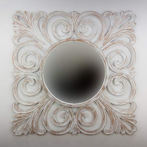 Rococo Espejo Decorativo de Madera Bury Shine de 120x120 en Blanco decapado