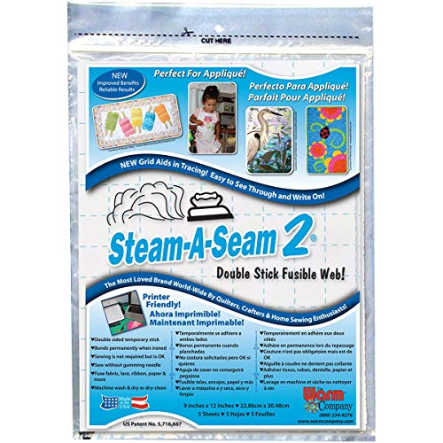 Warm Company Bulk Buy (3-Pack) Steam A Seam 2 Double Stick Fusible Web 9 inch x 12 inch Sheets 5 Pack 5517